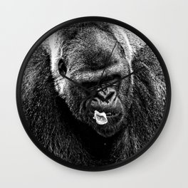 Male Silverback Lowland Gorilla with Smirk and Lettuce in Mouth Vintage Black and White Wall Clock