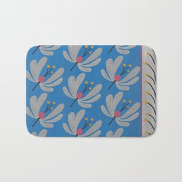 Silver Flowers – Blue Bell – Scandinavian Folk Art Bath Mat