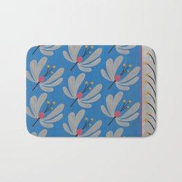 Silver Flowers – Blue Bell – Scandinavian Folk Art Bath Mat