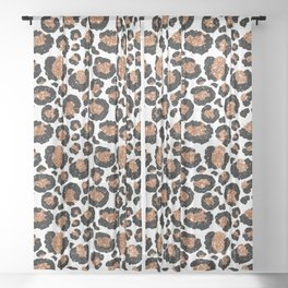 Leopard Metal Glamour Skin on white Sheer Curtain