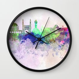 Hyderabad skyline in watercolor background Wall Clock