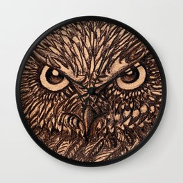 Fierce Brown Owl Wall Clock