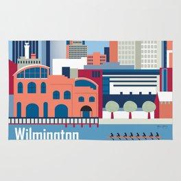 Wilmington, Delaware - Skyline Illustration by Loose Petals Rug