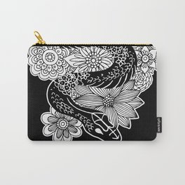 Snake with Flowers Black and White Drawing Carry-All Pouch