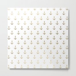 Elegant nautical faux gold white modern anchor Metal Print