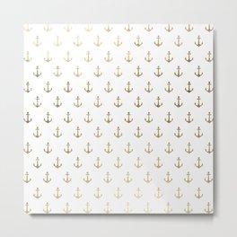 Elegant nautical faux gold white modern anchor Metal Print