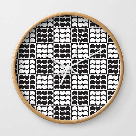 Hob Nob Black White Quarters Wall Clock