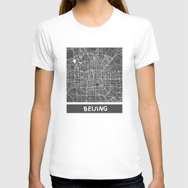 Beijing Map #2 map blue T-shirt
