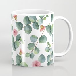 Eucaliptus and pink flowers pattern Coffee Mug