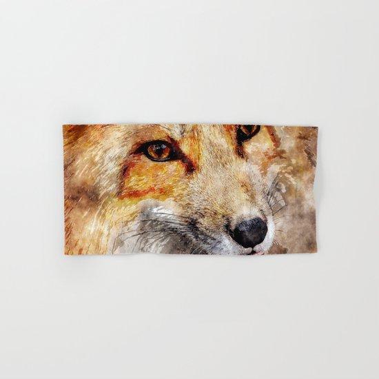 Cute Fox  animal nature watercolor illustration Hand & Bath Towel