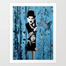 Chaplin and the kid - Urban ART Art Print
