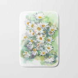 Watercolor chamomile white flowers Bath Mat