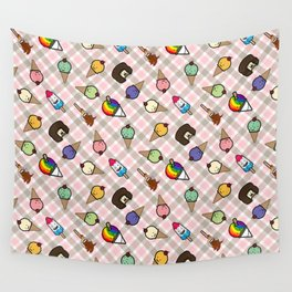 Neapolitan Gingham Frosty Treats Wall Tapestry