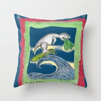 charlie Throw Pillows featuring Charlie by Huiskat