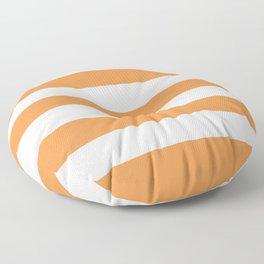Royal orange - solid color - white stripes pattern Floor Pillow