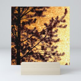 Pine Silhouette at Sunset #decor #society6 Mini Art Print