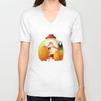 studio ghibli V-neck T-shirts featuring Studio Ghibli - Radish Spirit by Laurence Andrew Page Illustrator