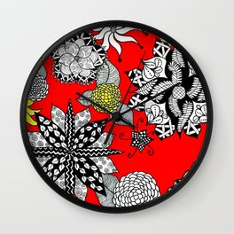 Pattern in Red  Wall Clock