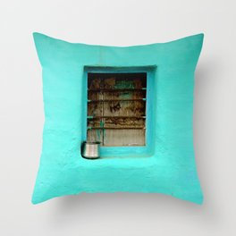 GRAY STEEL CONTAINER ON WINDOW WITH TEAL PAINT Throw Pillow
