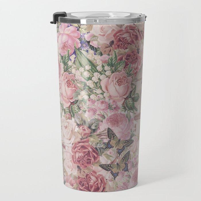 Romantic Flower Pattern And Birdcage Travel Mug