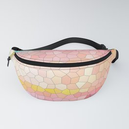 Pink, blue, orange mosaic stained glass background Fanny Pack