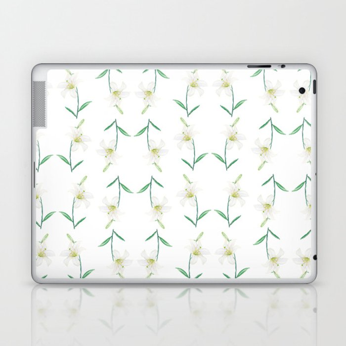 white lily watercolor Laptop & iPad Skin