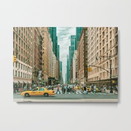 New York street and a yellow taxi Metal Print