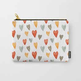 Illustrated Sketch Hearts // Orange // Yellow // Gray Carry-All Pouch