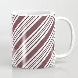 Pantone Red Pear and White Thick and Thin Angled Lines - Diagonal Stripes Coffee Mug