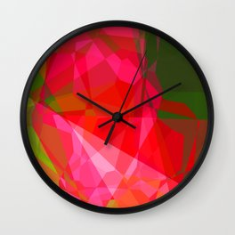 Pink Roses in Anzures 4 Abstract Polygons 3 Wall Clock