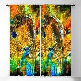guinea pig couple splatter watercolor Blackout Curtain