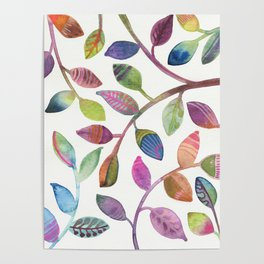 Colorful Leaves Watercolor Poster