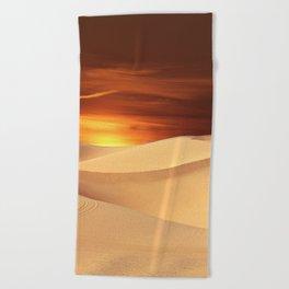 The Sunset On Desert Beach Towel
