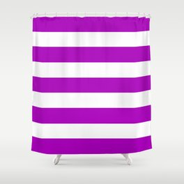 Heliotrope magenta - solid color - white stripes pattern Shower Curtain