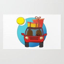 Travel car cartoon design Rug