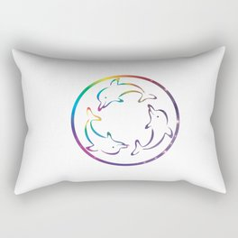 Universe in Rotating Dolphins Rectangular Pillow