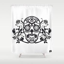 SKULL FLOWER 01 Shower Curtain