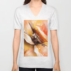Fly on flower 8 Unisex V-Neck