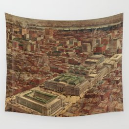 Vintage Penn Station and Surrounding NYC Map Wall Tapestry