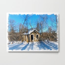 Old House in the Snow Metal Print