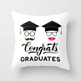 Congrats graduates lettering with photo booth props: graduation cap, lips, mustache, glasses Throw Pillow