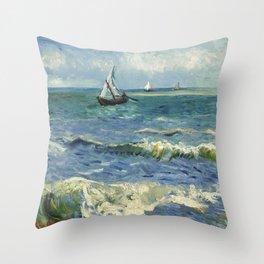 Seascape near Les Saintes Maries de la Mer by Vincent van Gogh Throw Pillow