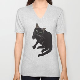 Black Cat Illustrated Print Emerald Green Unisex V-Neck