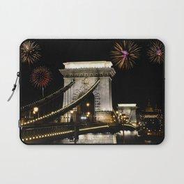 Szechenyi Chain bridge with fireworks Laptop Sleeve