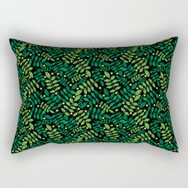 abstract seamless ash leaf background.  Green foliage pattern. Summer and spring design element. Decoration. Jungle. Exotic branches. Dark forest.shiny yellow stars , trendy theme  Rectangular Pillow