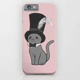 Grey Cat Wears Plumed Top Hat iPhone Case