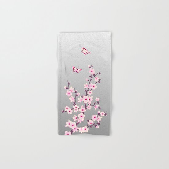 Cherry Blossoms Pink Gray Hand & Bath Towel