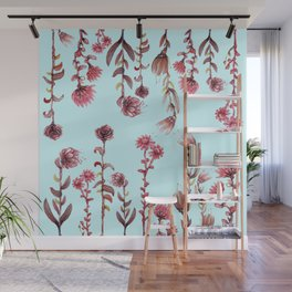 flowers on blue Wall Mural