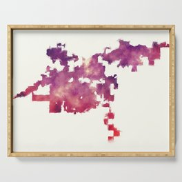 Bakersfield California city watercolor map in front of a white background Serving Tray