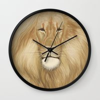 lion king Wall Clocks featuring king lion by Ewa Pacia